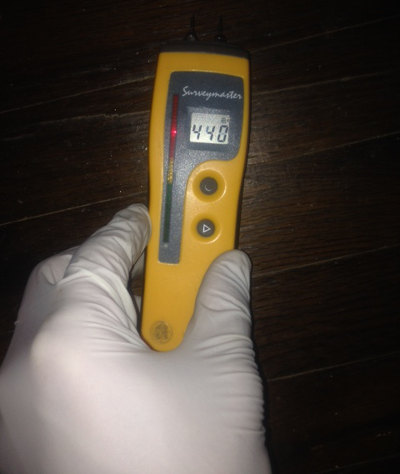 using water protimeter tool to measure moisture under flooring
