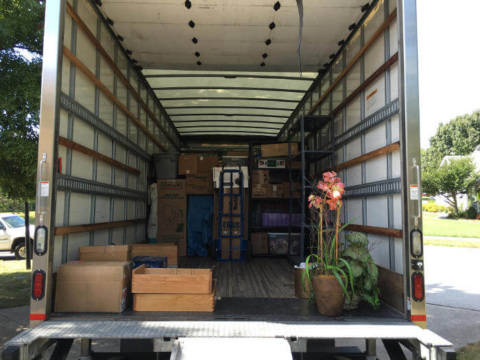 organized items in moving truck