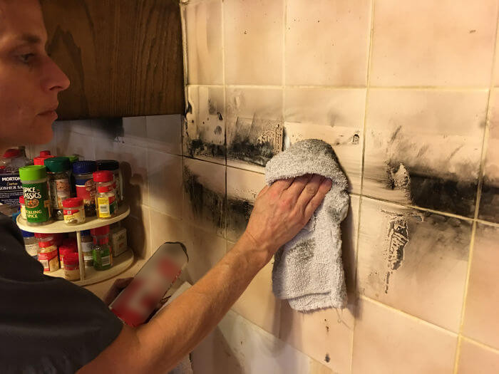 dana testing tile and grout cleaning after kitchen fire
