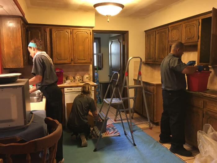 cleaning contents of kitchen after fire