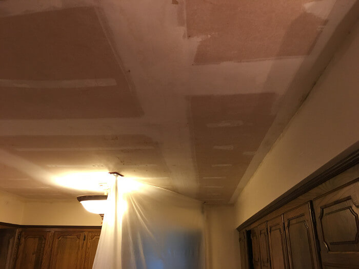 scraped ceiling texture after fire