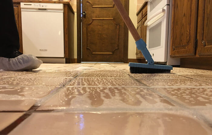 scrubbing grout in tile process 3