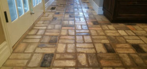 brick stone tile floor after cleaning